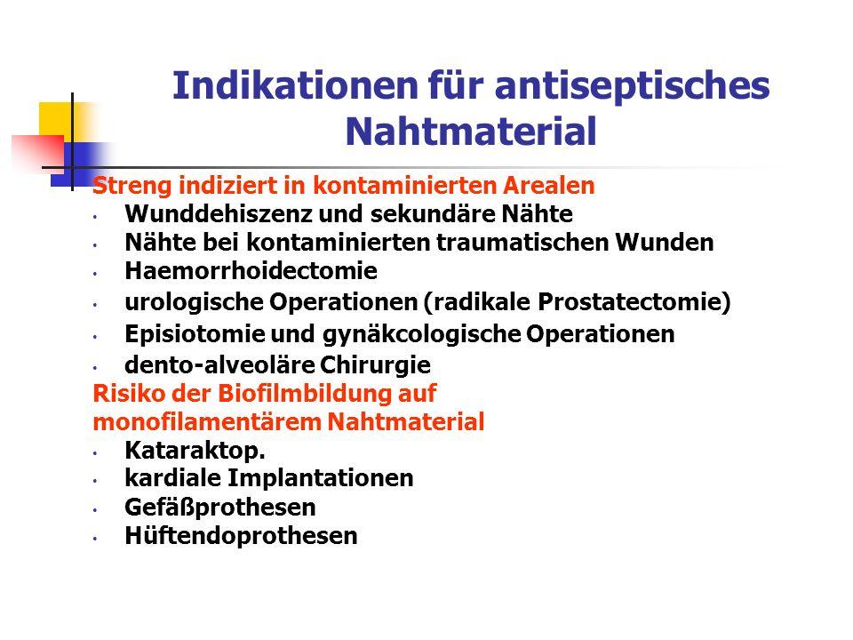 Indikationen für antiseptisches Nahtmaterial Streng indiziert in kontaminierten Arealen Wunddehiszenz und sekundäre Nähte Nähte bei kontaminierten tra