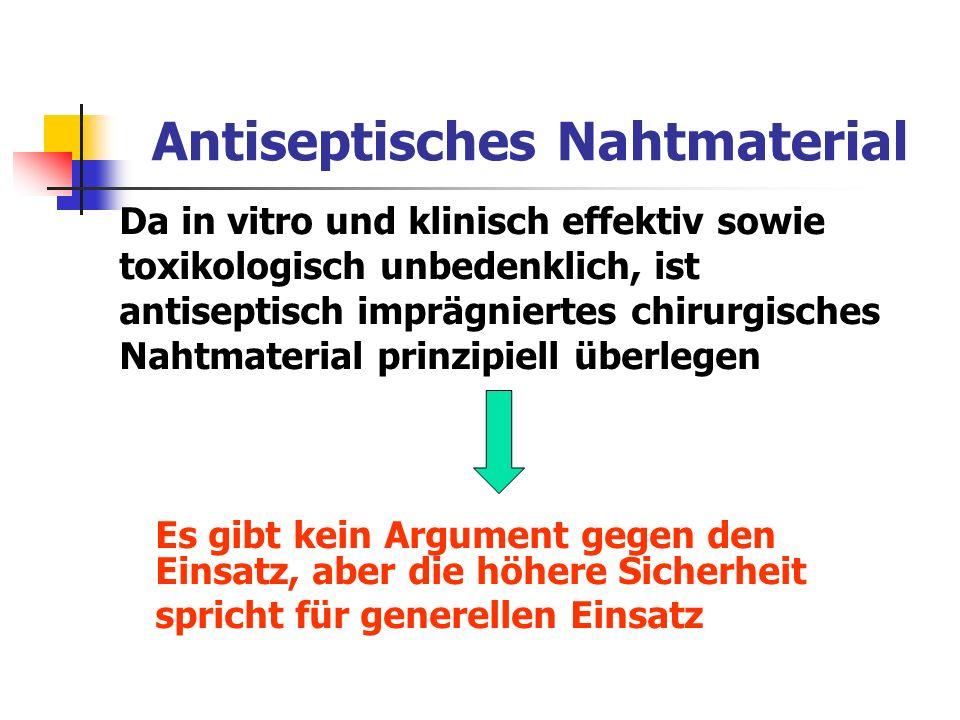 Antiseptisches Nahtmaterial Da in vitro und klinisch effektiv sowie toxikologisch unbedenklich, ist antiseptisch imprägniertes chirurgisches Nahtmater