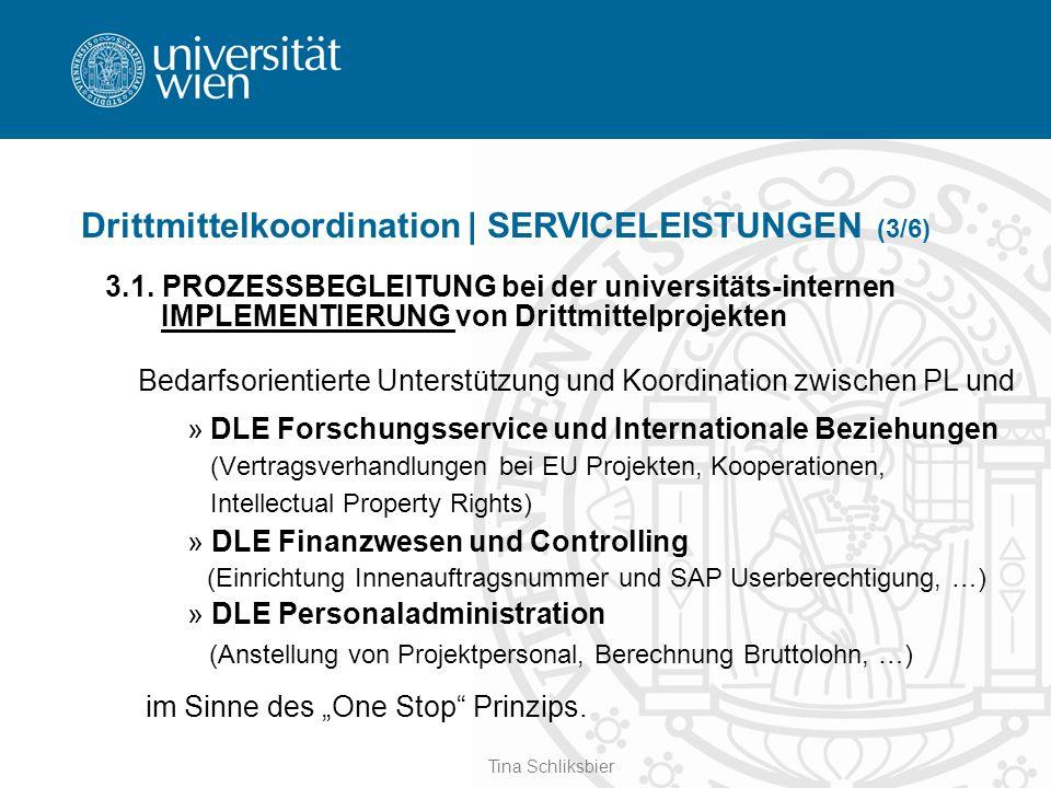 Tina Schliksbier Drittmittelkoordination | SERVICELEISTUNGEN (3/6) 3.1. PROZESSBEGLEITUNG bei der universitäts-internen IMPLEMENTIERUNG von Drittmitte