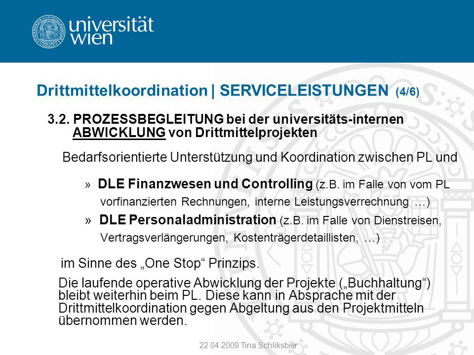 22 04 2009 Tina Schliksbier Drittmittelkoordination | SERVICELEISTUNGEN (4/6) 3.2. PROZESSBEGLEITUNG bei der universitäts-internen ABWICKLUNG von Drit