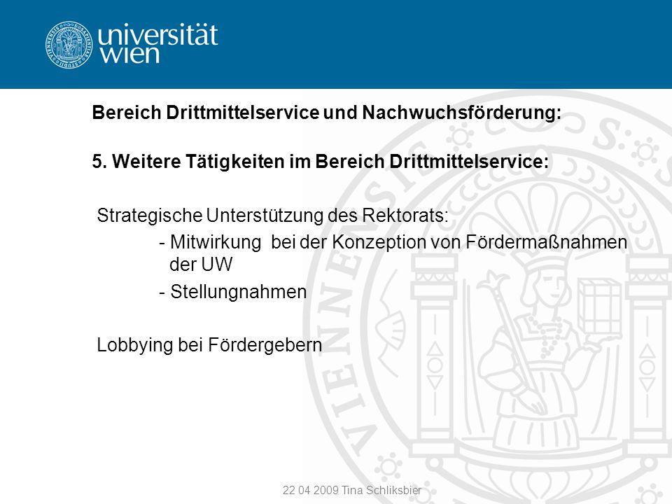 22 04 2009 Tina Schliksbier Bereich Drittmittelservice und Nachwuchsförderung: 5. Weitere Tätigkeiten im Bereich Drittmittelservice: Strategische Unte