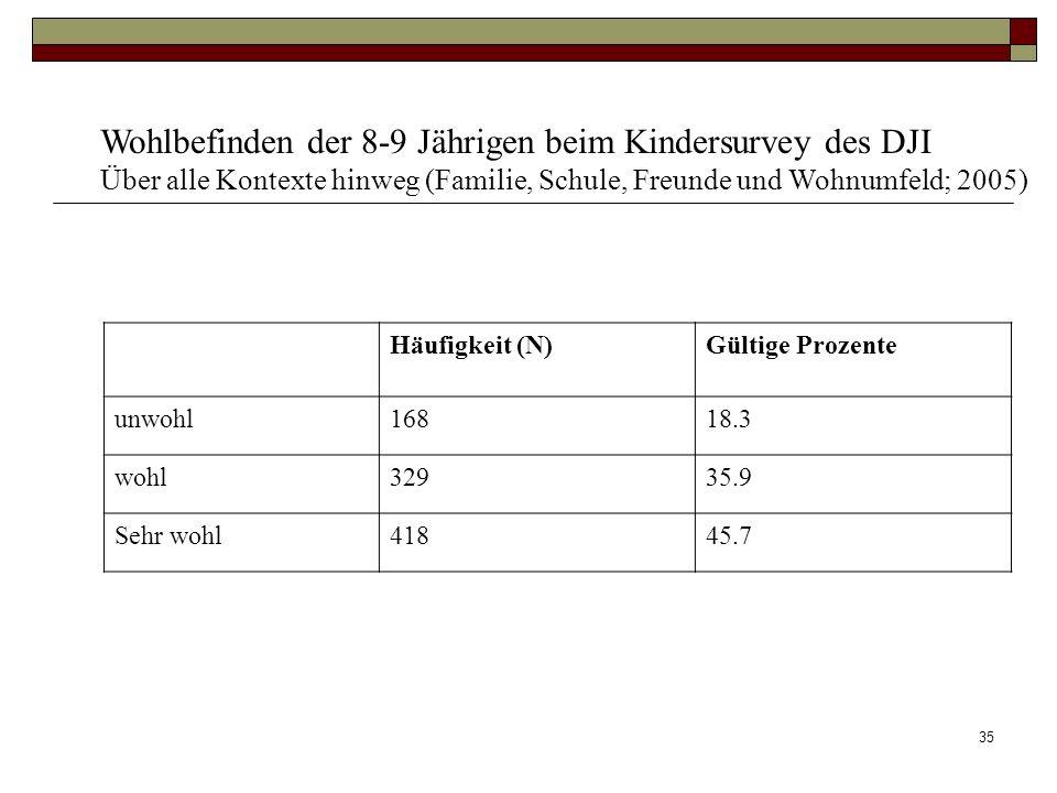 34 Einflüsse auf das kindliche Wohlbefinden im DJI Kinderpanel: 1. Persönlichkeitsstruktur des Kindes (hohe Aggressivität sowie starke Depressivität m