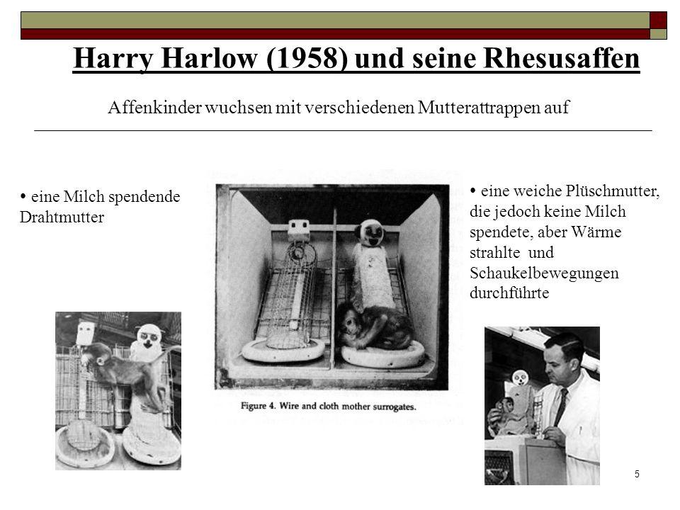 4 Harlow - Experiment Harry Harlow und seine Rhesusaffen (1958) - Was ist das Wesen der Mutterliebe? Fragestellung