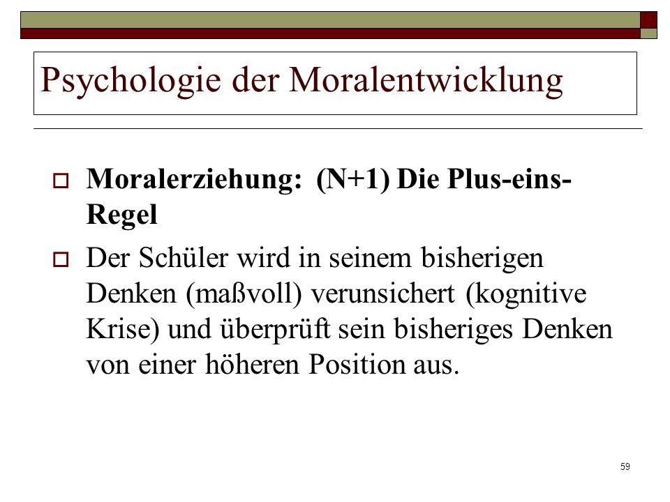 59 Psychologie der Moralentwicklung Moralerziehung: (N+1) Die Plus-eins- Regel Der Schüler wird in seinem bisherigen Denken (maßvoll) verunsichert (ko