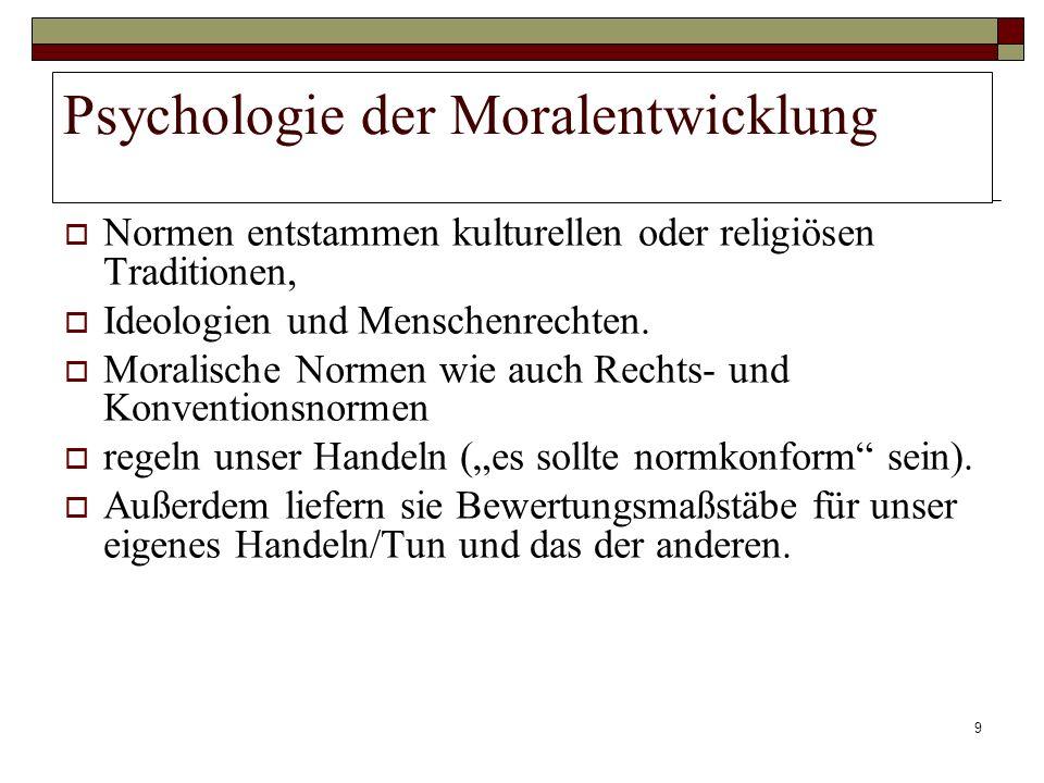 9 Psychologie der Moralentwicklung Normen entstammen kulturellen oder religiösen Traditionen, Ideologien und Menschenrechten. Moralische Normen wie au