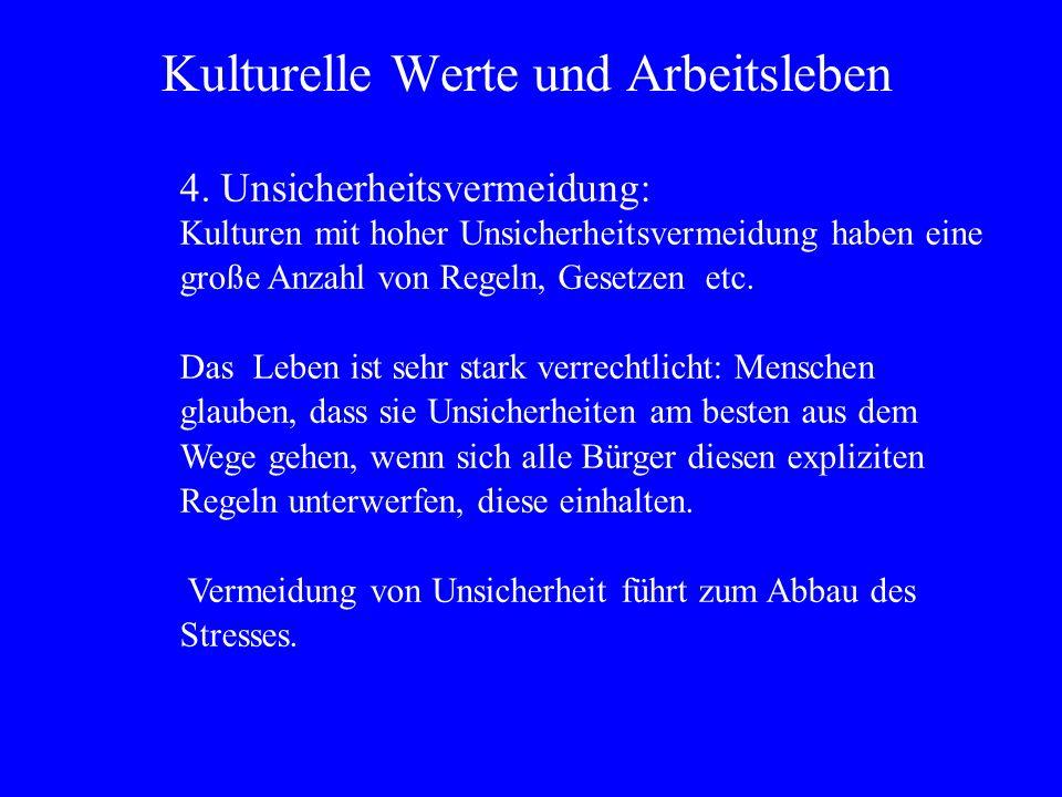 Kulturelle Werte und Arbeitsleben 4.
