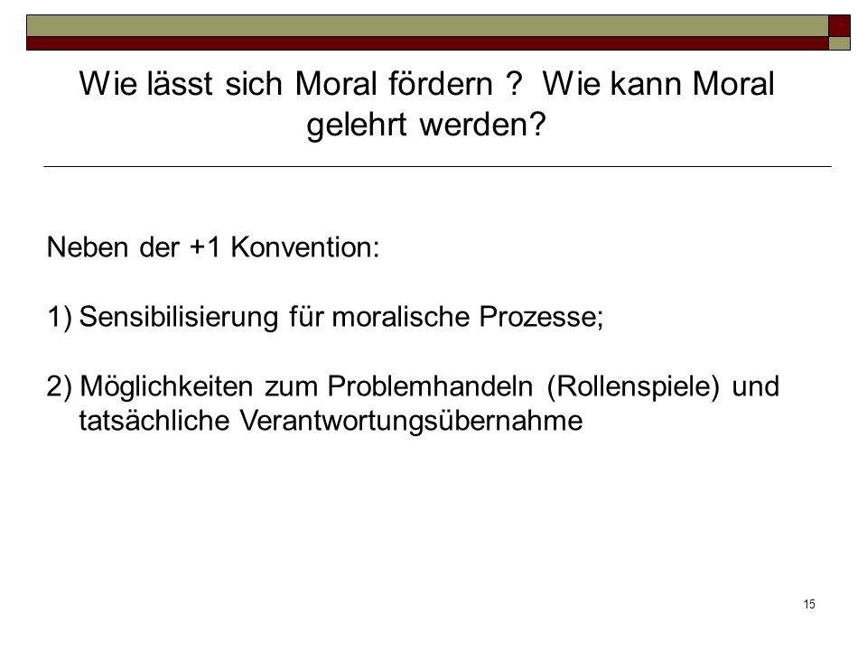 15 Neben der +1 Konvention: 1)Sensibilisierung für moralische Prozesse; 2) Möglichkeiten zum Problemhandeln (Rollenspiele) und tatsächliche Verantwort