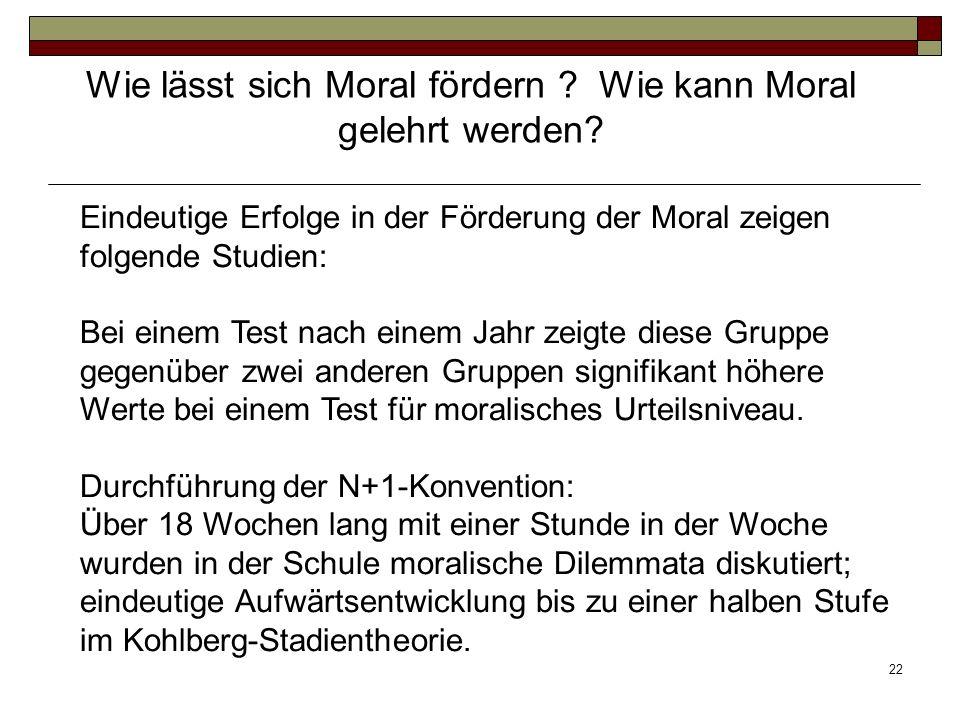22 Eindeutige Erfolge in der Förderung der Moral zeigen folgende Studien: Bei einem Test nach einem Jahr zeigte diese Gruppe gegenüber zwei anderen Gr