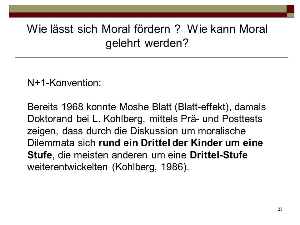 23 N+1-Konvention: Bereits 1968 konnte Moshe Blatt (Blatt-effekt), damals Doktorand bei L. Kohlberg, mittels Prä- und Posttests zeigen, dass durch die