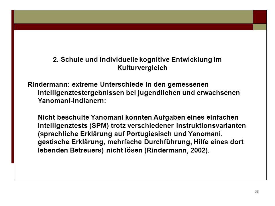 35 2. Schule und individuelle kognitive Entwicklung im Kulturvergleich Korrektes Wiedergeben (Stoffmemorierung statt Verständnis); Respekt sowie Gehor