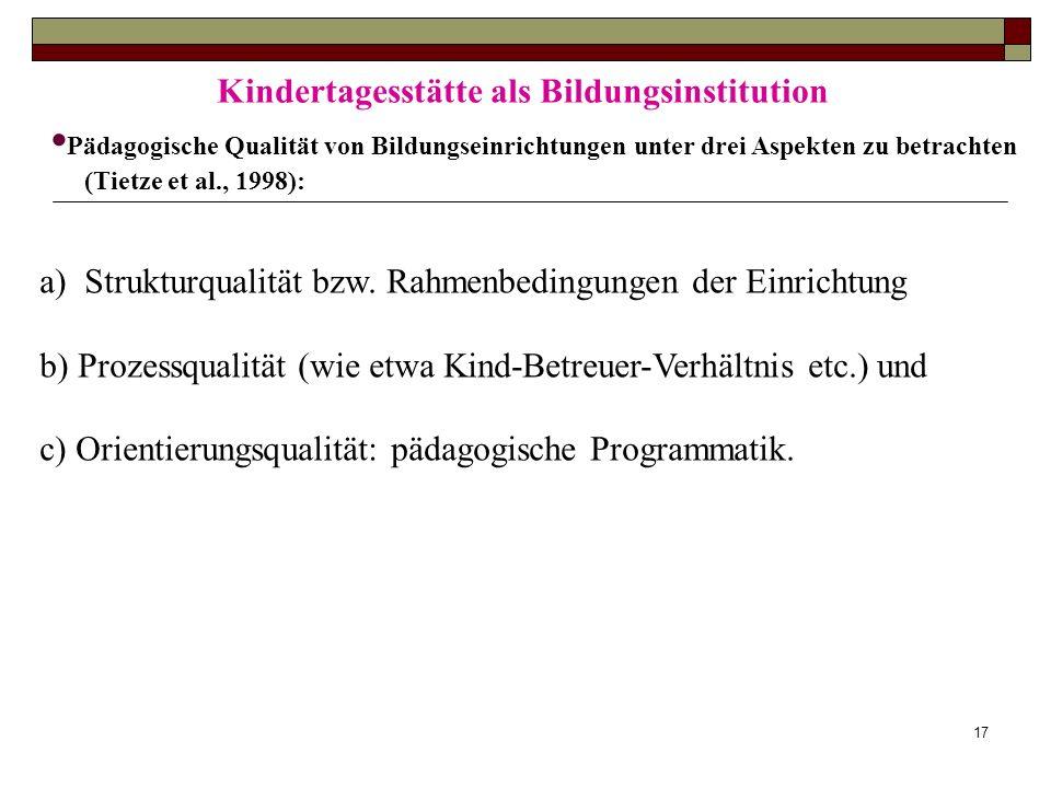 17 Kindertagesstätte als Bildungsinstitution Pädagogische Qualität von Bildungseinrichtungen unter drei Aspekten zu betrachten (Tietze et al., 1998):
