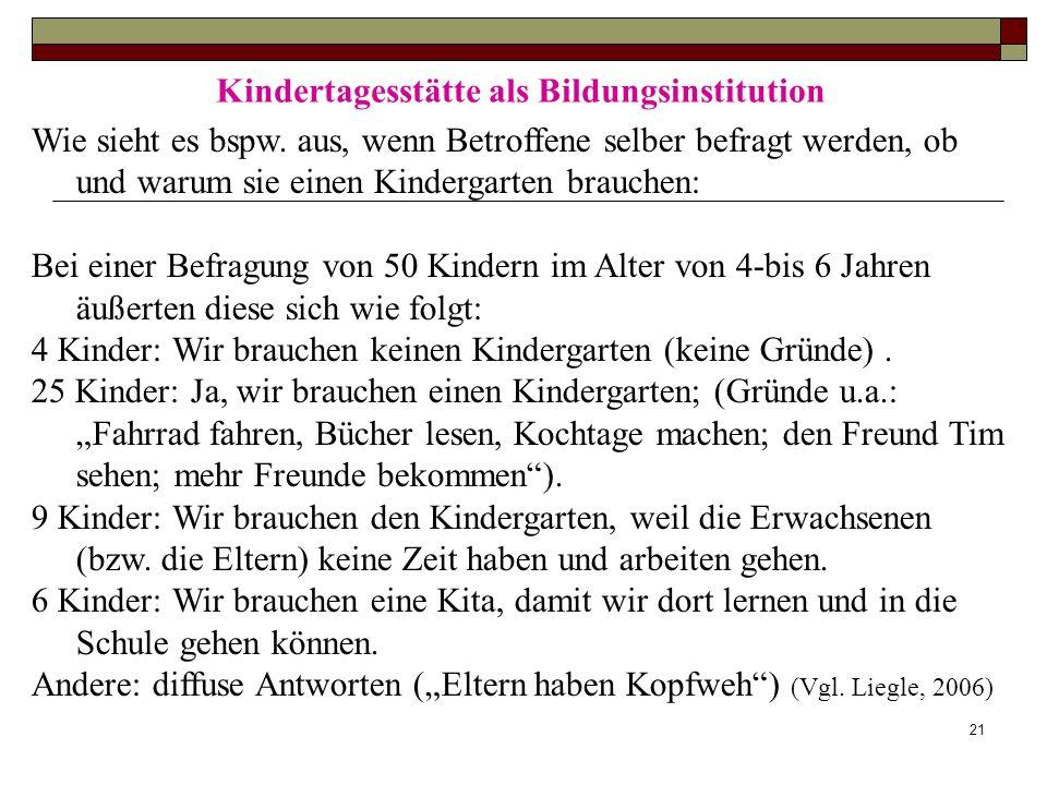 21 Kindertagesstätte als Bildungsinstitution Wie sieht es bspw. aus, wenn Betroffene selber befragt werden, ob und warum sie einen Kindergarten brauch