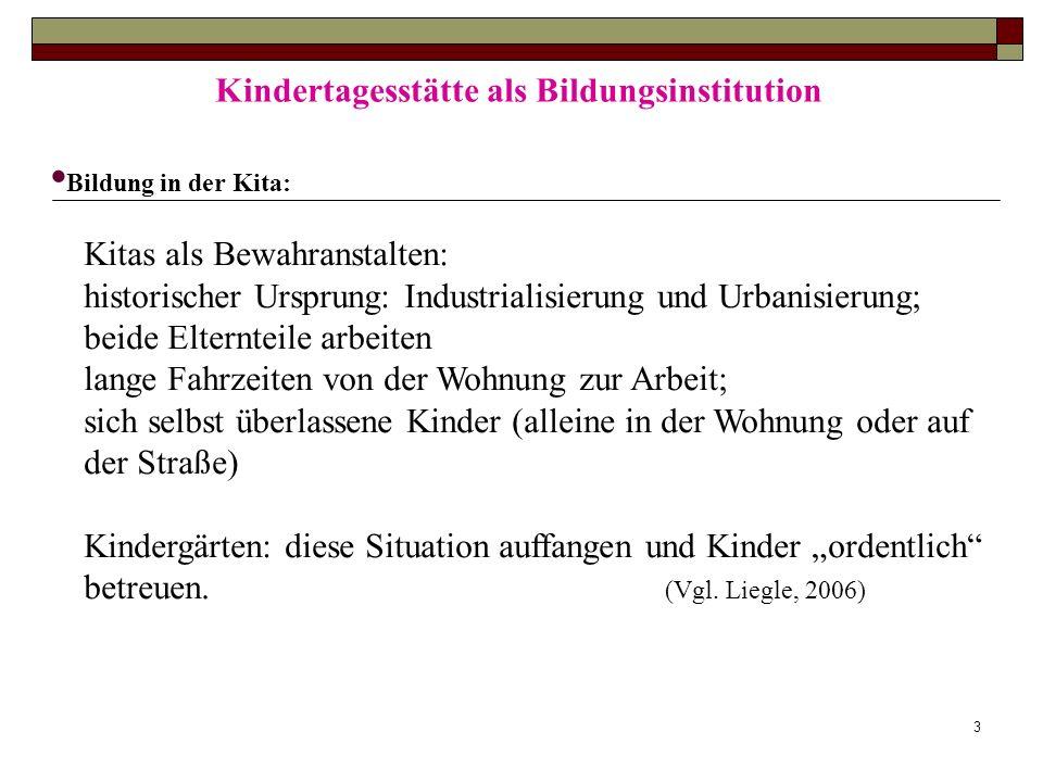 3 Kindertagesstätte als Bildungsinstitution Bildung in der Kita: Kitas als Bewahranstalten: historischer Ursprung: Industrialisierung und Urbanisierun