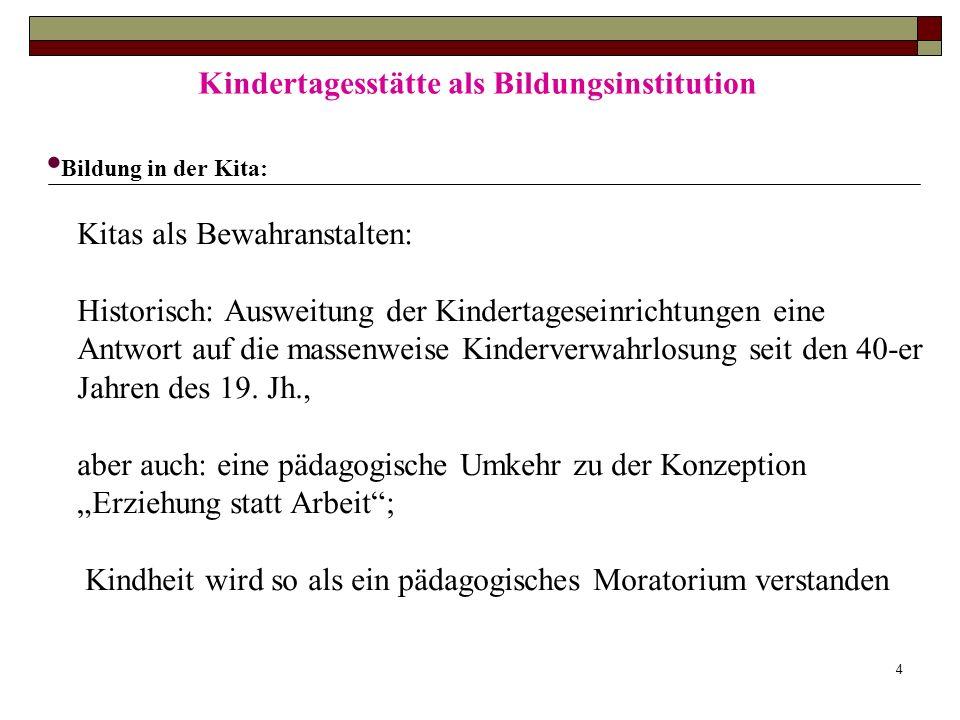 4 Kindertagesstätte als Bildungsinstitution Bildung in der Kita: Kitas als Bewahranstalten: Historisch: Ausweitung der Kindertageseinrichtungen eine A