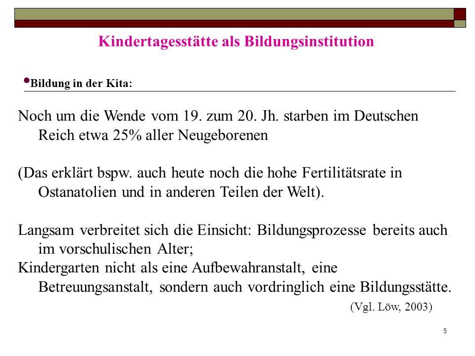 5 Kindertagesstätte als Bildungsinstitution Bildung in der Kita: Noch um die Wende vom 19. zum 20. Jh. starben im Deutschen Reich etwa 25% aller Neuge