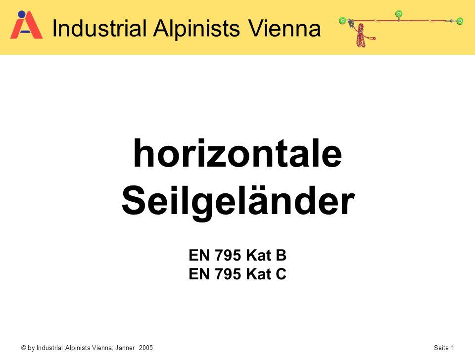 © by Industrial Alpinists Vienna; Jänner 2005 Seite 1 Industrial Alpinists Vienna horizontale Seilgeländer EN 795 Kat B EN 795 Kat C