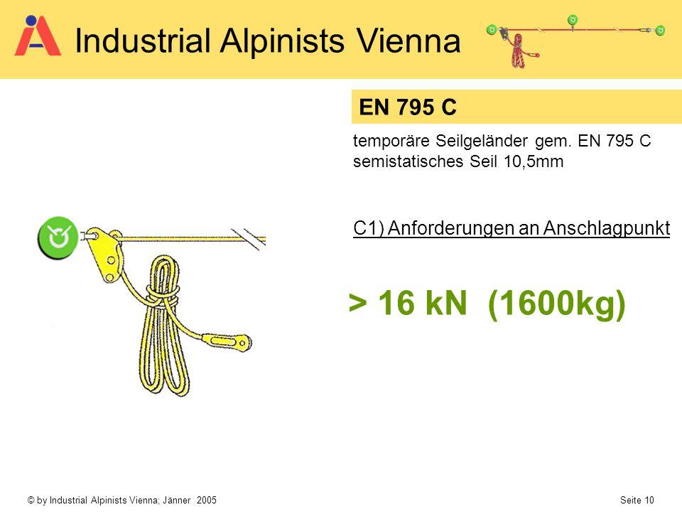 © by Industrial Alpinists Vienna; Jänner 2005 Seite 10 Industrial Alpinists Vienna EN 795 C > 16 kN (1600kg) temporäre Seilgeländer gem. EN 795 C semi