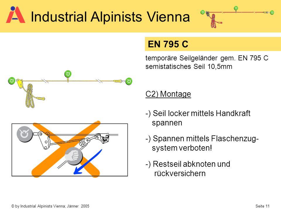 © by Industrial Alpinists Vienna; Jänner 2005 Seite 11 Industrial Alpinists Vienna EN 795 C temporäre Seilgeländer gem. EN 795 C semistatisches Seil 1