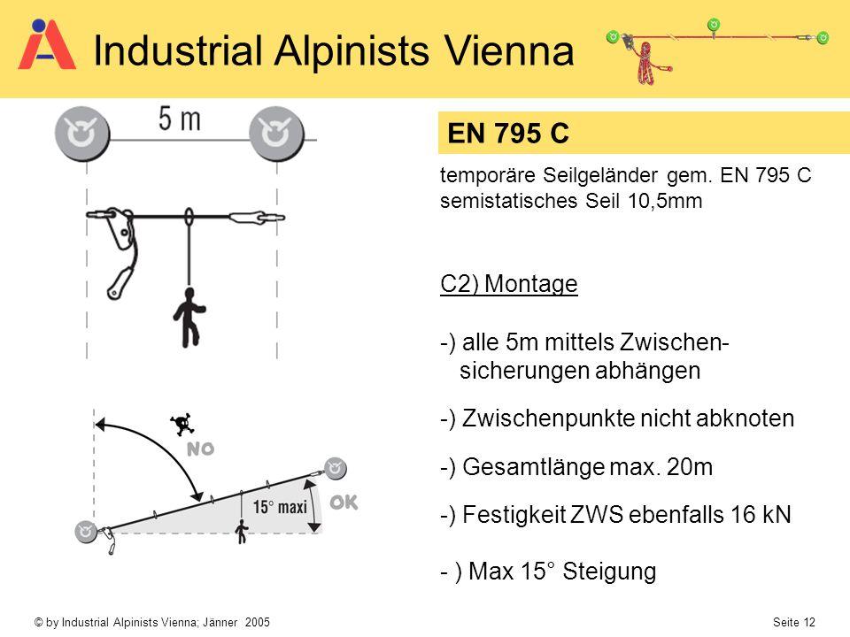 © by Industrial Alpinists Vienna; Jänner 2005 Seite 12 Industrial Alpinists Vienna -) alle 5m mittels Zwischen- sicherungen abhängen -) Zwischenpunkte