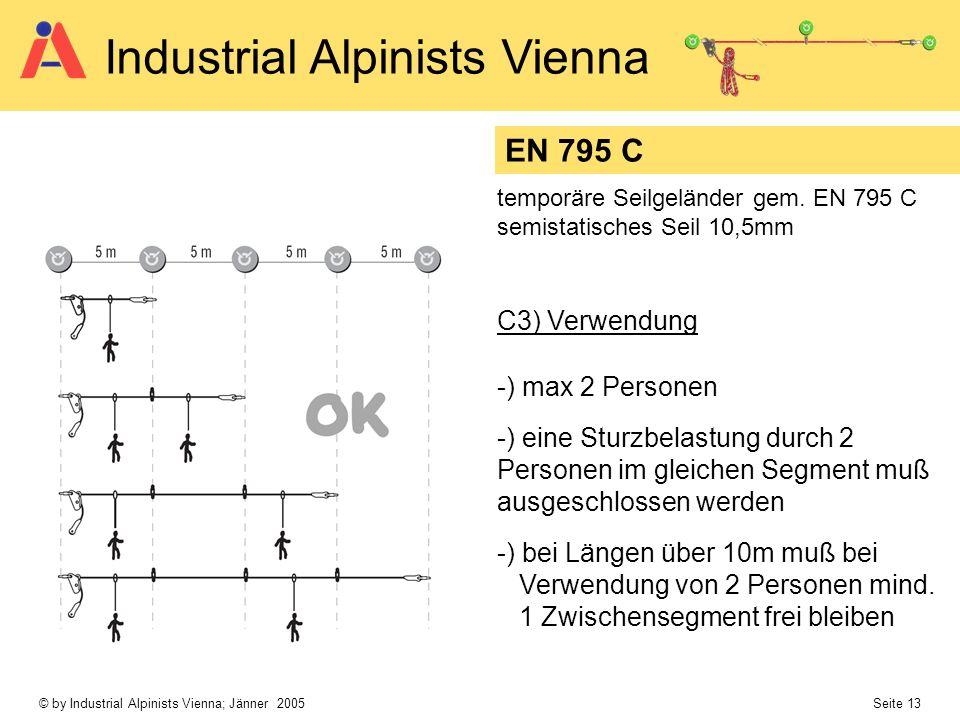 © by Industrial Alpinists Vienna; Jänner 2005 Seite 13 Industrial Alpinists Vienna C3) Verwendung -) max 2 Personen -) eine Sturzbelastung durch 2 Per