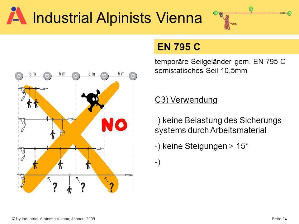 © by Industrial Alpinists Vienna; Jänner 2005 Seite 14 Industrial Alpinists Vienna C3) Verwendung -) keine Belastung des Sicherungs- systems durch Arb