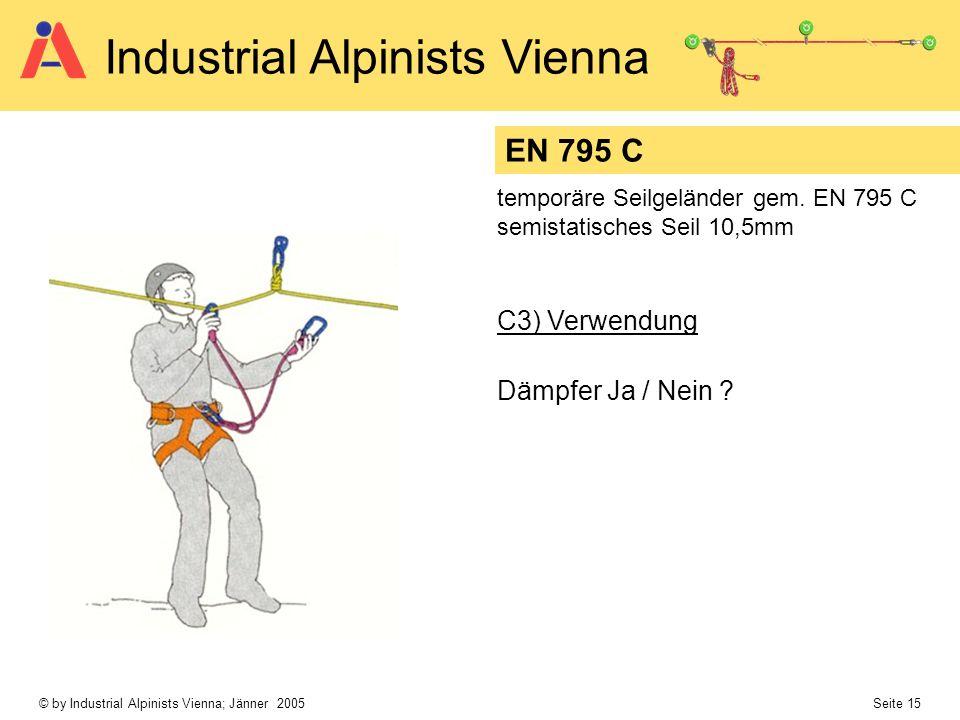 © by Industrial Alpinists Vienna; Jänner 2005 Seite 15 Industrial Alpinists Vienna EN 795 C temporäre Seilgeländer gem. EN 795 C semistatisches Seil 1
