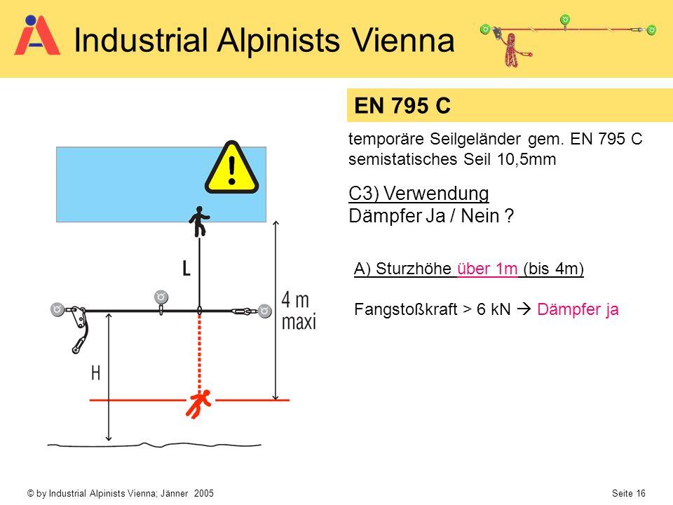 © by Industrial Alpinists Vienna; Jänner 2005 Seite 16 Industrial Alpinists Vienna C3) Verwendung Dämpfer Ja / Nein ? EN 795 C temporäre Seilgeländer