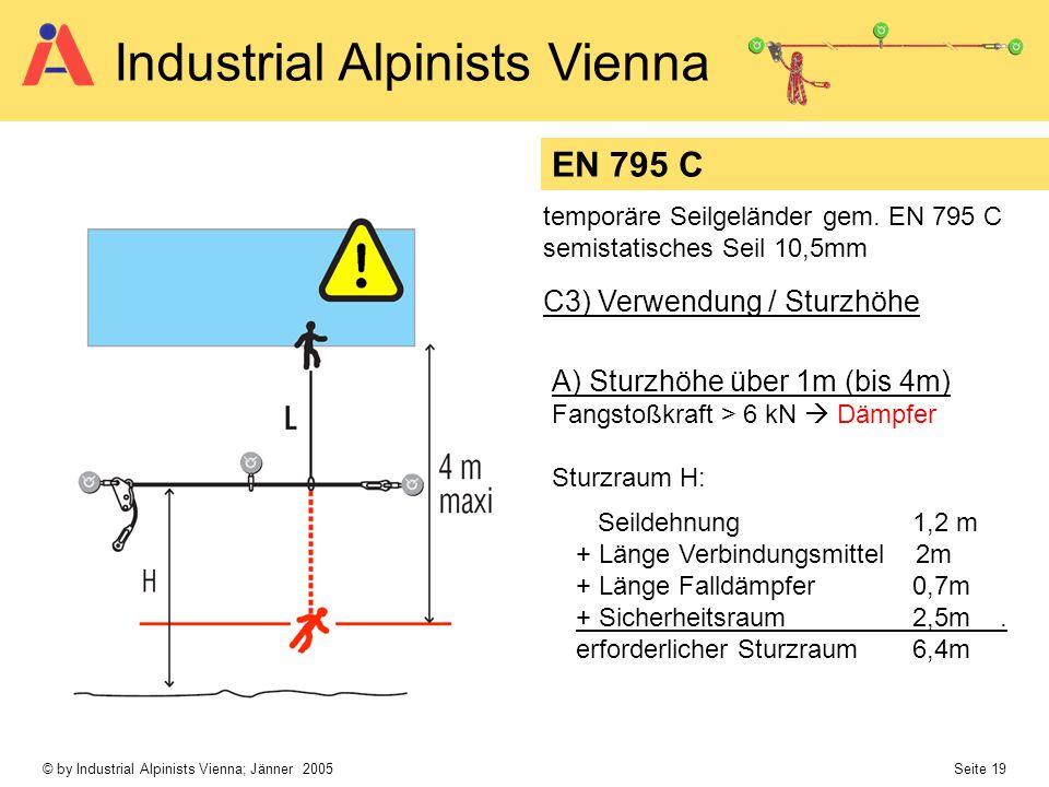 © by Industrial Alpinists Vienna; Jänner 2005 Seite 19 Industrial Alpinists Vienna C3) Verwendung / Sturzhöhe EN 795 C temporäre Seilgeländer gem. EN