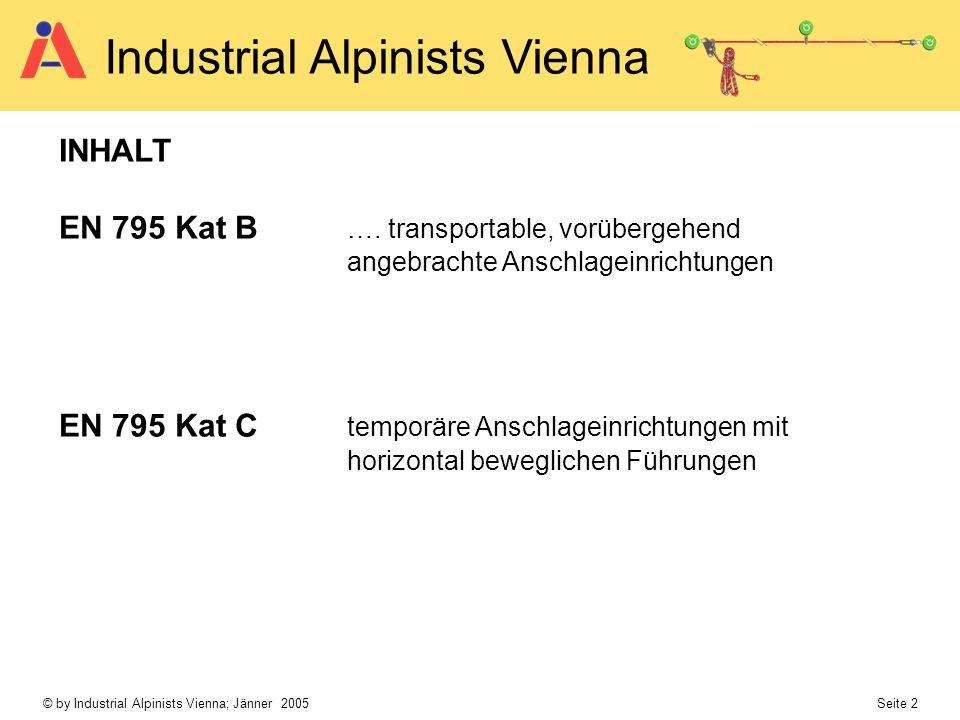 © by Industrial Alpinists Vienna; Jänner 2005 Seite 2 Industrial Alpinists Vienna INHALT EN 795 Kat B …. transportable, vorübergehend angebrachte Ansc
