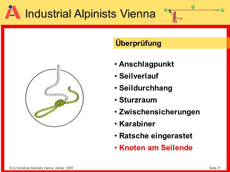© by Industrial Alpinists Vienna; Jänner 2005 Seite 21 Industrial Alpinists Vienna Anschlagpunkt Seilverlauf Seildurchhang Sturzraum Zwischensicherung