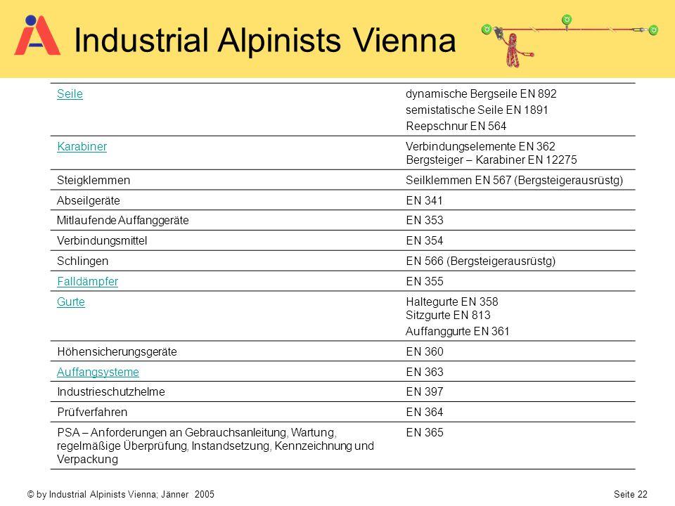 © by Industrial Alpinists Vienna; Jänner 2005 Seite 22 Industrial Alpinists Vienna Seiledynamische Bergseile EN 892 semistatische Seile EN 1891 Reepsc