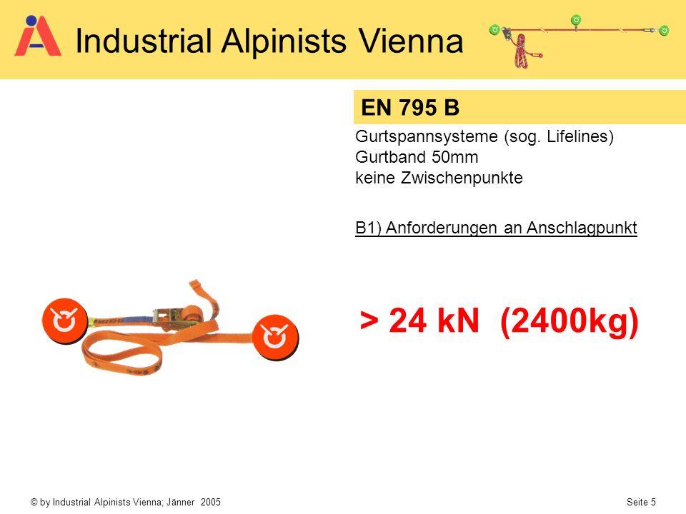 © by Industrial Alpinists Vienna; Jänner 2005 Seite 5 Industrial Alpinists Vienna EN 795 B Gurtspannsysteme (sog. Lifelines) Gurtband 50mm keine Zwisc