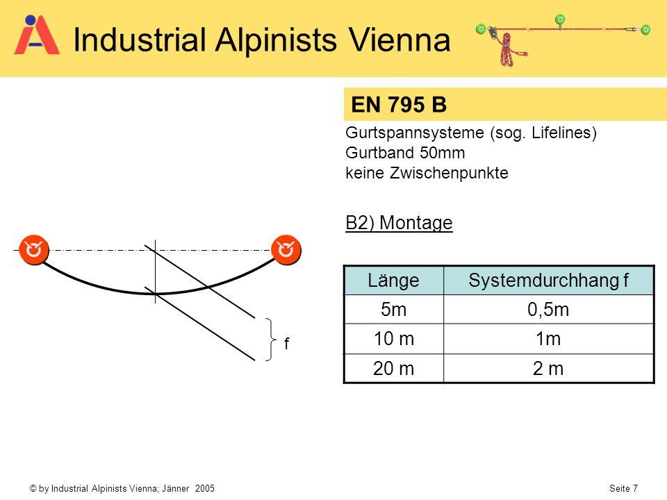 © by Industrial Alpinists Vienna; Jänner 2005 Seite 7 Industrial Alpinists Vienna EN 795 B Gurtspannsysteme (sog. Lifelines) Gurtband 50mm keine Zwisc