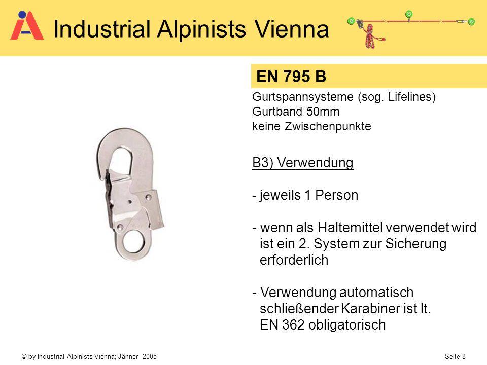 © by Industrial Alpinists Vienna; Jänner 2005 Seite 8 Industrial Alpinists Vienna EN 795 B Gurtspannsysteme (sog. Lifelines) Gurtband 50mm keine Zwisc