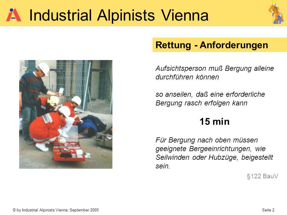 © by Industrial Alpinists Vienna; September 2005 Seite 2 Industrial Alpinists Vienna Rettung - Anforderungen Aufsichtsperson muß Bergung alleine durch