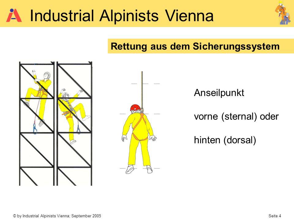 © by Industrial Alpinists Vienna; September 2005 Seite 4 Industrial Alpinists Vienna Rettung aus dem Sicherungssystem Anseilpunkt vorne (sternal) oder