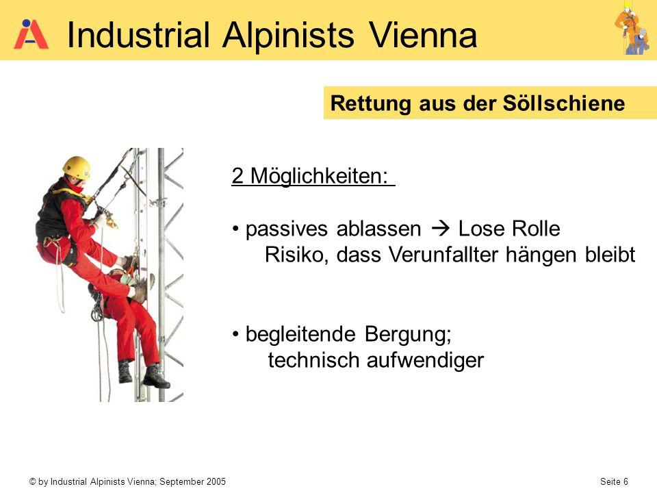 © by Industrial Alpinists Vienna; September 2005 Seite 6 Industrial Alpinists Vienna Rettung aus der Söllschiene 2 Möglichkeiten: passives ablassen Lo
