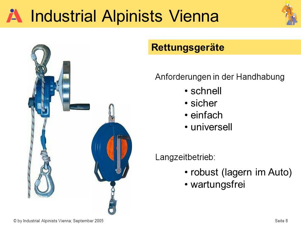 © by Industrial Alpinists Vienna; September 2005 Seite 8 Industrial Alpinists Vienna Rettungsgeräte Anforderungen in der Handhabung Langzeitbetrieb: s
