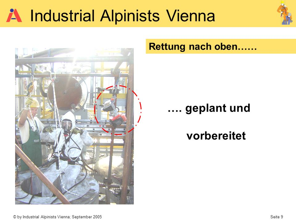 © by Industrial Alpinists Vienna; September 2005 Seite 10 Industrial Alpinists Vienna Rettung nach oben…… Lose Rolle Fallstopp redundant ….