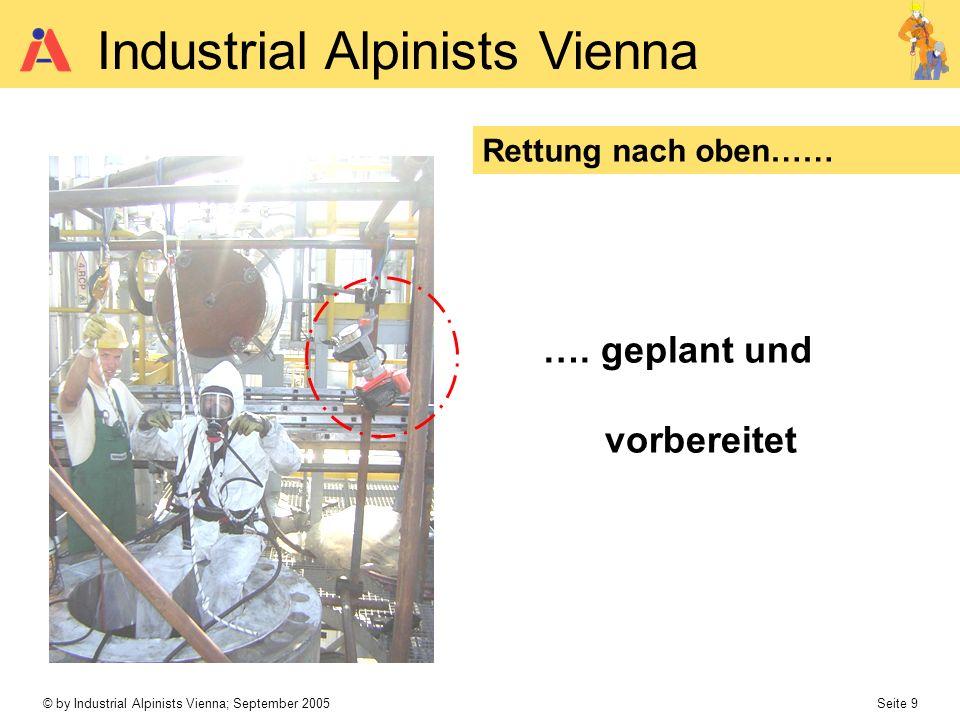 © by Industrial Alpinists Vienna; September 2005 Seite 9 Industrial Alpinists Vienna Rettung nach oben…… …. geplant und vorbereitet