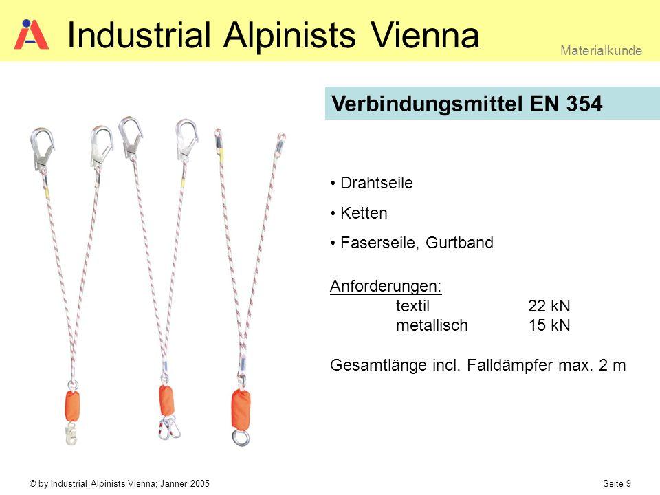 © by Industrial Alpinists Vienna; Jänner 2005 Seite 9 Materialkunde Industrial Alpinists Vienna Verbindungsmittel EN 354 Drahtseile Ketten Faserseile,