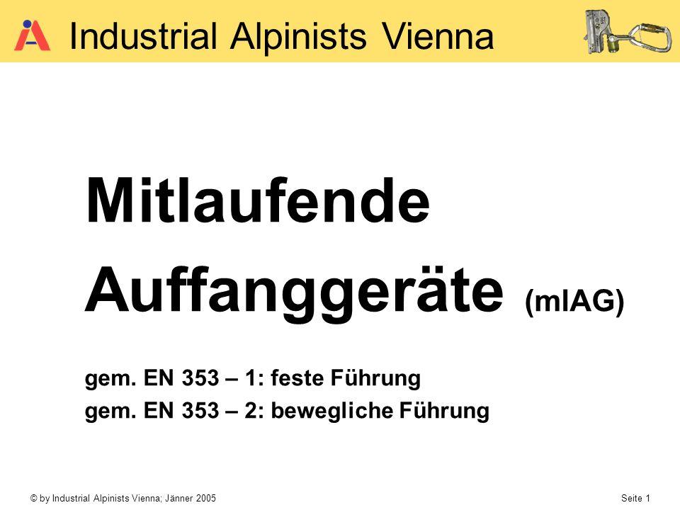© by Industrial Alpinists Vienna; Jänner 2005 Seite 1 Industrial Alpinists Vienna Mitlaufende Auffanggeräte (mlAG) gem. EN 353 – 1: feste Führung gem.