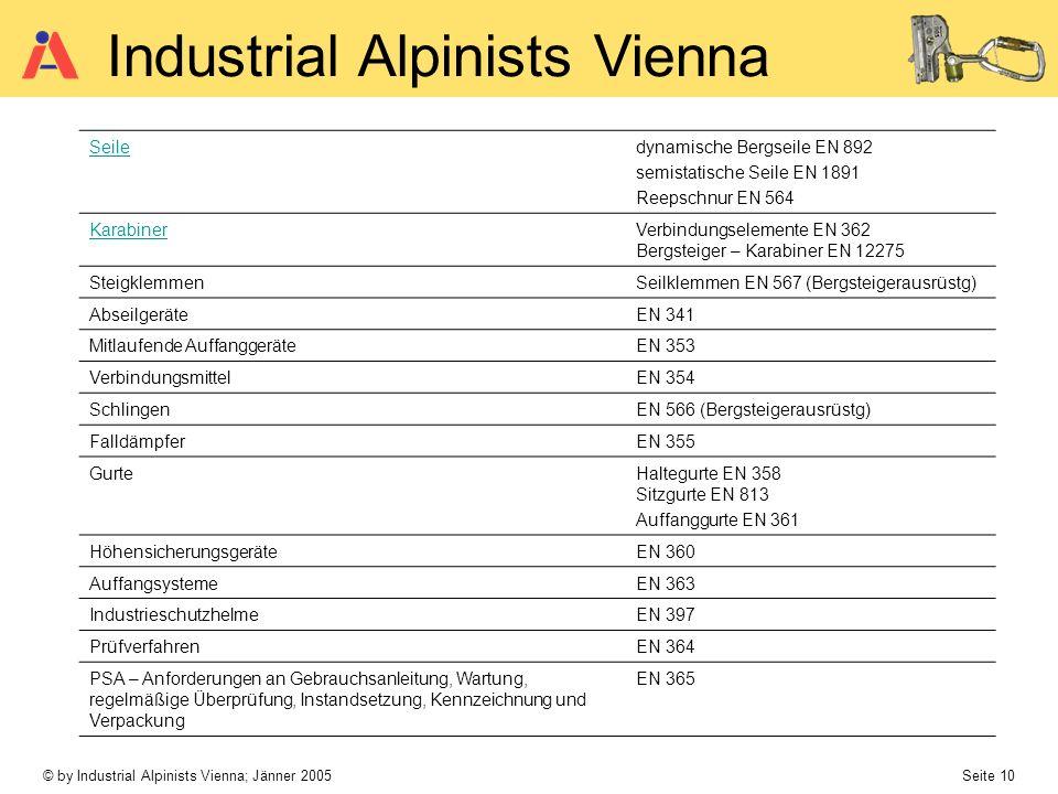 © by Industrial Alpinists Vienna; Jänner 2005 Seite 10 Industrial Alpinists Vienna Seiledynamische Bergseile EN 892 semistatische Seile EN 1891 Reepsc