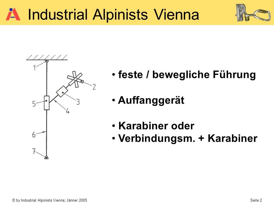 © by Industrial Alpinists Vienna; Jänner 2005 Seite 2 Industrial Alpinists Vienna feste / bewegliche Führung Auffanggerät Karabiner oder Verbindungsm.