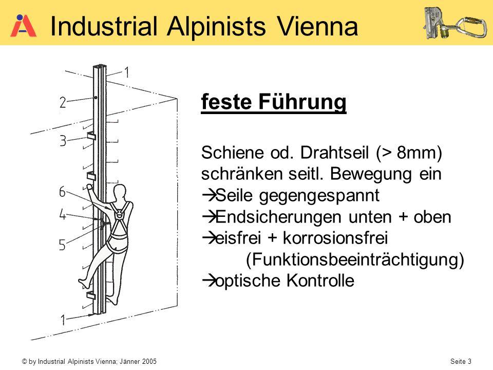 © by Industrial Alpinists Vienna; Jänner 2005 Seite 3 Industrial Alpinists Vienna feste Führung Schiene od. Drahtseil (> 8mm) schränken seitl. Bewegun