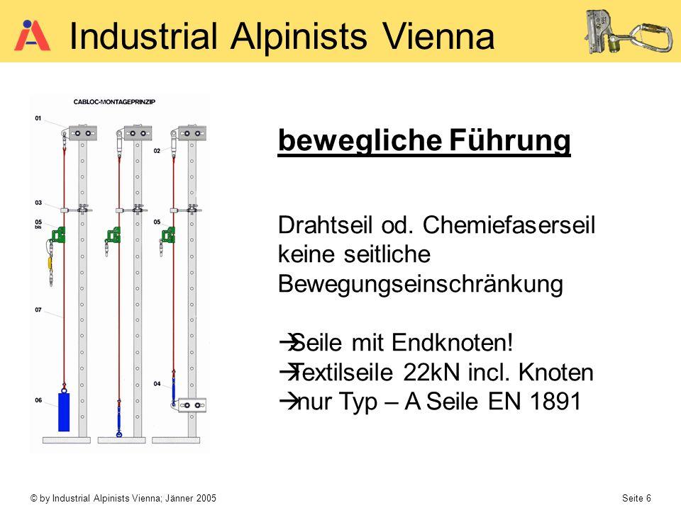 © by Industrial Alpinists Vienna; Jänner 2005 Seite 6 Industrial Alpinists Vienna bewegliche Führung Drahtseil od. Chemiefaserseil keine seitliche Bew