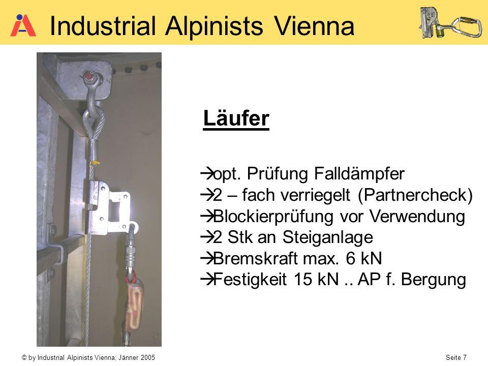 © by Industrial Alpinists Vienna; Jänner 2005 Seite 7 Industrial Alpinists Vienna Läufer opt. Prüfung Falldämpfer 2 – fach verriegelt (Partnercheck) B