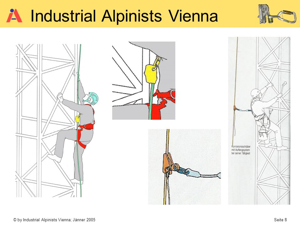 © by Industrial Alpinists Vienna; Jänner 2005 Seite 9 Industrial Alpinists Vienna Verbindungsmittel Karabiner mlAG an fester Führung Länge max.