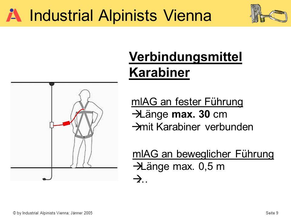 © by Industrial Alpinists Vienna; Jänner 2005 Seite 9 Industrial Alpinists Vienna Verbindungsmittel Karabiner mlAG an fester Führung Länge max. 30 cm
