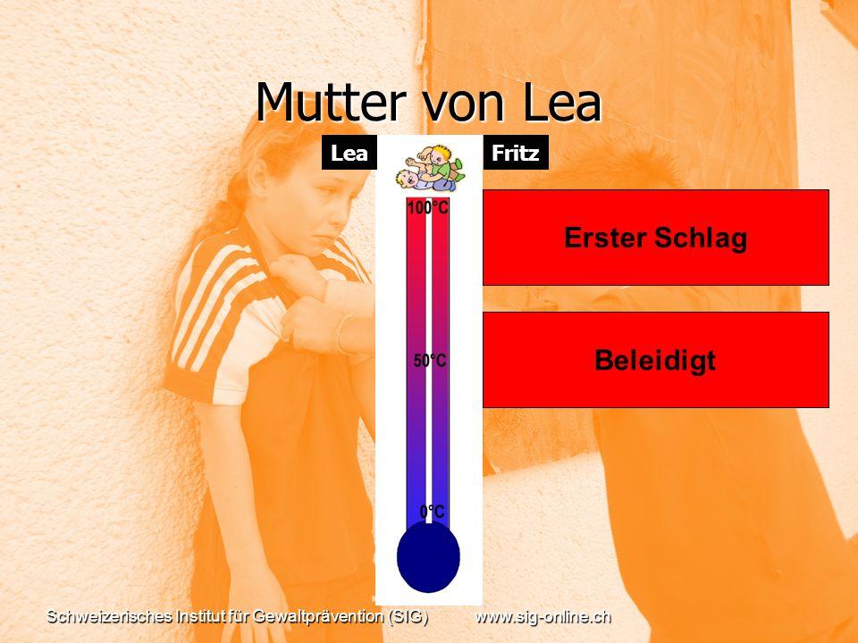 Schweizerisches Institut für Gewaltprävention (SIG)www.sig-online.ch Mutter von Lea Beleidigt Erster Schlag FritzLea